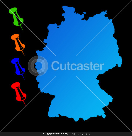 Germany travel map stock photo, Germany travel map with push pins on black background. by Martin Crowdy