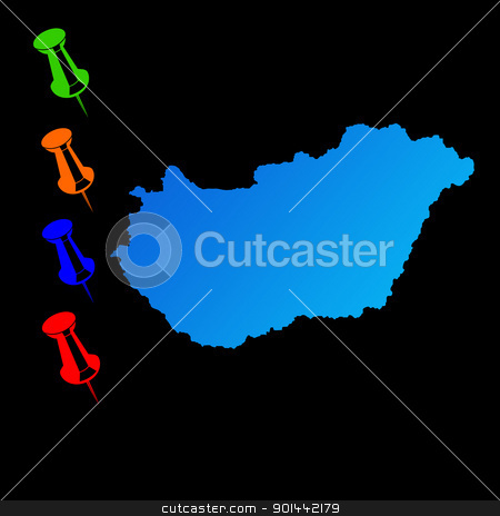 Hungary travel map stock photo, Hungary travel map with push pins on black background. by Martin Crowdy