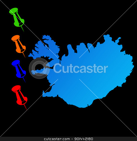 Iceland travel map stock photo, Iceland travel map with push pins on black background. by Martin Crowdy