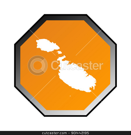 Malta road sign stock photo, Malta road sign isolated on a white background. by Martin Crowdy