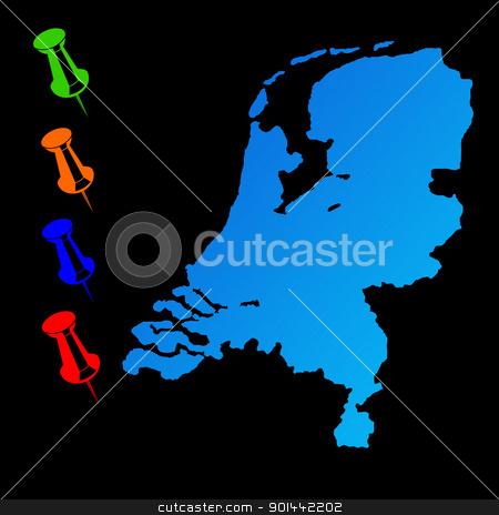 Netherlands travel map stock photo, Netherlands travel map with push pins on black background. by Martin Crowdy