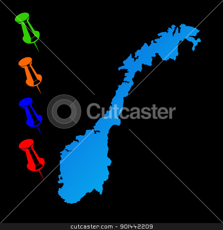 Norway travel map stock photo, Norway travel map with push pins on black background. by Martin Crowdy