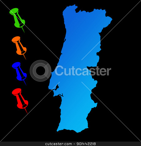 Portugal travel map stock photo, Portugal travel mapwith push pins on black background. by Martin Crowdy