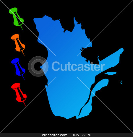 Quebec travel map stock photo, Canadian state of Quebec travel map with push pins on black background. by Martin Crowdy