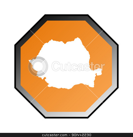 Romania sign stock photo, Romania road sign isolated on a white background. by Martin Crowdy