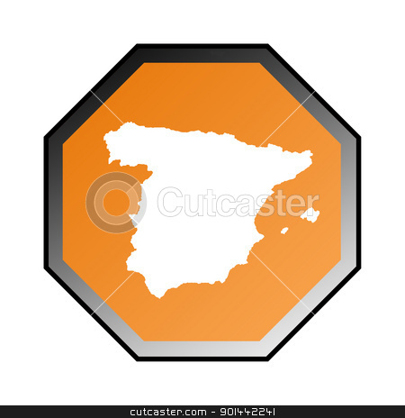 Spain sign stock photo, Spain road sign isolated on a white background. by Martin Crowdy
