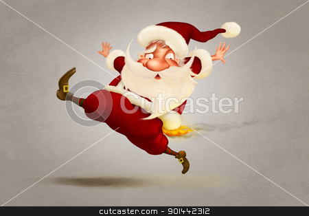 A warm Christmas stock photo, Santa Claus burning and run for christmas greetings card by Giordano Aita