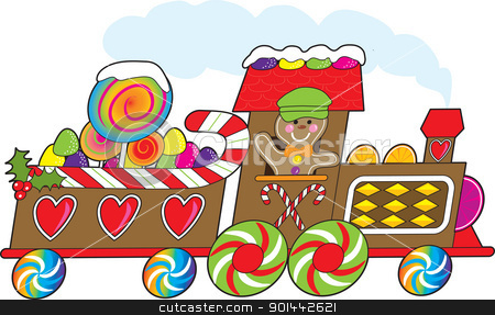 Gingerbread Train stock vector clipart, A gingerbread train with a smiling gingerbread engineer is loaded with candy canes, gum drops and lollipops and rushing towards the Christmas season. by Maria Bell