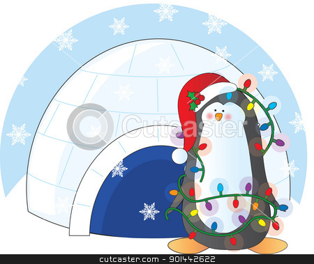 Penguin Christmas stock vector clipart, A penguin adorned with Chritmas lights and wearing a Christmas toque, stands in front of an igloo with snow flakes in the air. by Maria Bell