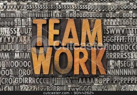 teamwork stock photo, teamwork - text in vintage wood letterpress printing blocks against grunge metal typeset by Marek Uliasz