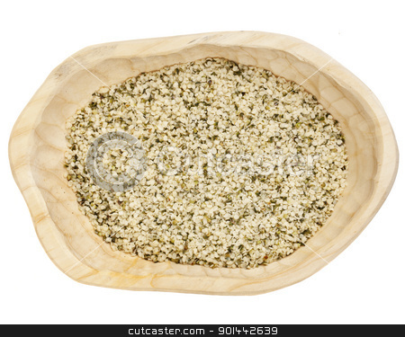 hemp seeds shelled stock photo, shelled hemp seeds on a rustic wooden tray isolated on white - top view by Marek Uliasz