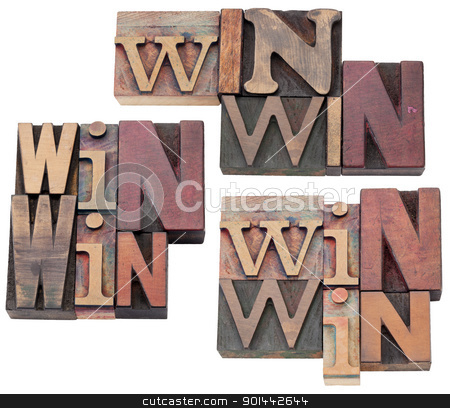 win-win strategy or compromise stock photo, win-win strategy, negotiation or conflict resolution concept - isolated text  in vintage wood letterpress type blocks, stained by color ink, 3 layouts by Marek Uliasz
