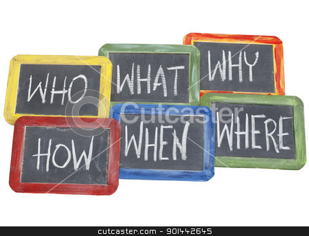 brainstorming questions  stock photo, brainstorming questions - what, when, where, why, how, who  - white chalk handwriting on vintage slate blackboards in colorful wood frames by Marek Uliasz