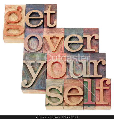 get over it advice stock photo, get over it advice - isolated text in vintage wood letterpress printing blocks by Marek Uliasz