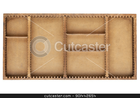 old wood box with dividers stock photo, old grunge wood box (tray) with dividers isolated on white by Marek Uliasz