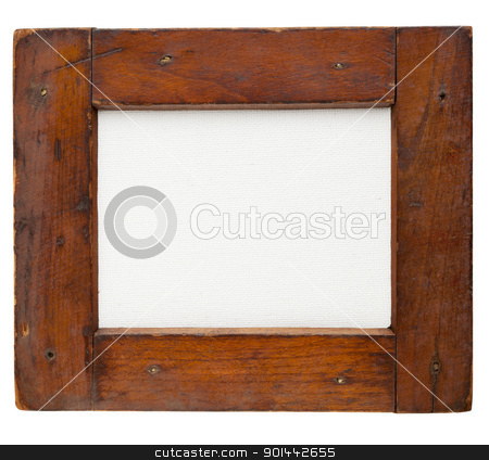 wooden frame with canvas stock photo, old rough wooden frame with blank artist canvas isolated on white by Marek Uliasz