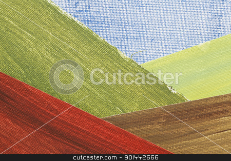 mountain valley landscape abstract stock photo, mountain valley landscape abstract - a collage of painted art canvas pieces, created by  the photographer by Marek Uliasz