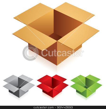 Opened box stock photo, Vector illustration of opened box on white background by dvarg