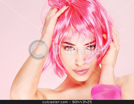 pretty young pink hair woman stock photo, Portrait of a pretty young pink hair woman by iMarin