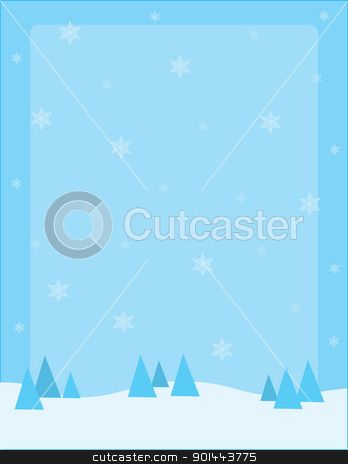 Snow Background stock vector clipart, A snowy winter landscape, dotted with coniferous trees on the horizon and snowflakes floating in air. by Maria Bell