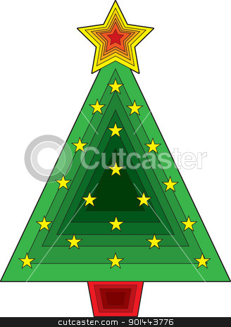 Triangle Christmas Tree stock vector clipart, A stylized Christmas tree consisting of overlapping triangles and stars. by Maria Bell