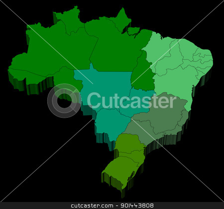 Map of Brazil with official regions divisions stock photo, Three dimensional map of Brazil with black background by marphotography