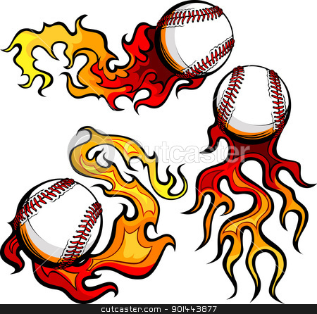 Baseballs with Flames Vector Images stock vector clipart, Graphic baseballs sport vector image with flames by chromaco