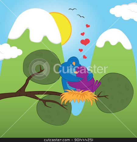 S.Valentine_birds stock vector clipart, Couple of birds on a branch. Vector illustration by wingedcats
