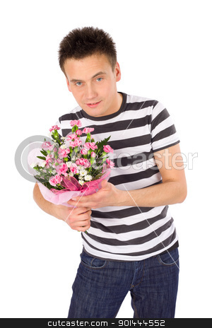 Romantic Young Man with Flowers stock photo, Casual romantic handsome young man with bouquet of carnation flowers, isolated over white background by Rognar