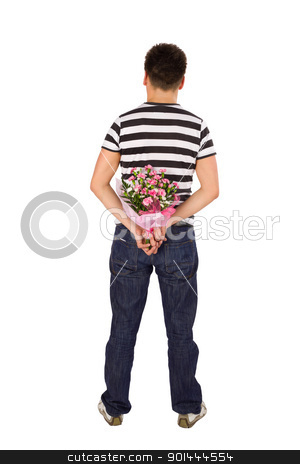 Man Hiding Bouquet of Flowers stock photo, Casual young man standing back to the camera hiding bouquet of flowers behind his back, isolated on white background by Rognar