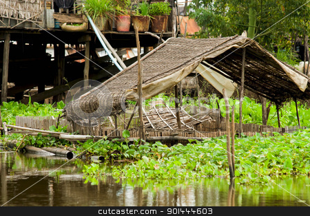 Straw Roof Structure stock photo, Straw roof structure on the Tonle Sap Lake in Cambodia, Kompong Khleang village. by Rognar