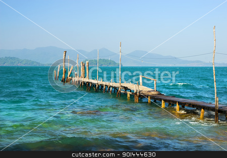 Gulf of Thailand Scenery stock photo, The Gulf of Thailand beautiful scenery, wooden pier on turquoise water and islands on the horizon by Rognar