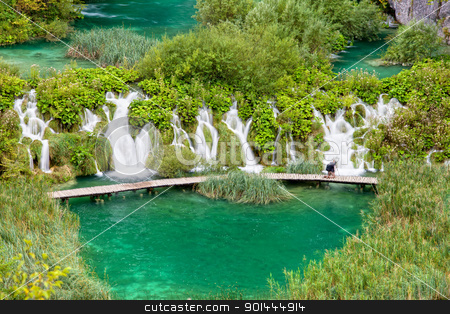 Water Cascades stock photo, Scenic water cascades in Plitvice Lakes National Park, Croatia by Rognar