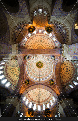 New Mosque Interior Ceiling stock photo, The New Mosque (Yeni Valide Camii, Ottoman Imperial Mosque), impressive interior ceiling architecture in Istanbul, Turkey by Rognar