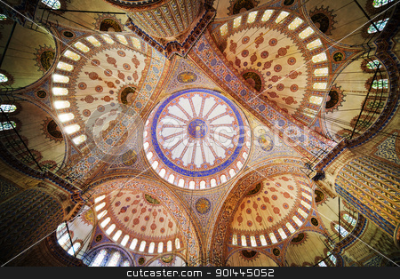 Blue Mosque Ceiling stock photo, Blue Mosque ( Turkish: Sultan Ahmet Cami), interior ceiling in Istanbul, Turkey by Rognar