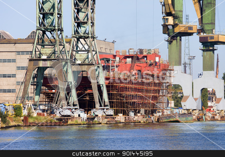 Shipyard Industrial Scenery stock photo, Industrial scenery, ship during construction works in a shipyard by Rognar