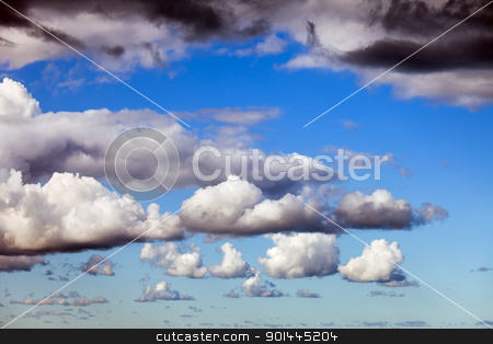 Cloudscape stock photo, Fluffy cumulus clouds on a tranquil day interesting pattern by Rognar