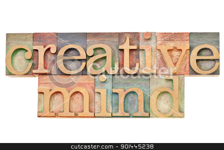 creative mind stock photo, creative mind - isolated text in vintage wood letterpress printing blocks stained by color inks by Marek Uliasz