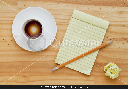 empty coffee cup and notepad stock photo, empty espresso coffee cup, notepad and pencil on pine wood table by Marek Uliasz