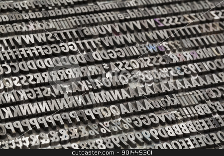 vintage metal letters and numbers stock photo, letters, numbers and punctuation symbols in old grunge metal movable typeset by Marek Uliasz