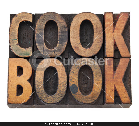 cookbook in letterpress type stock photo, cookbook - isolated word in vintage grunge wood letterpress type, stained by color inks by Marek Uliasz