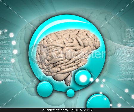 Brain in abstract background	 stock photo, Brain in abstract background	 by dileep