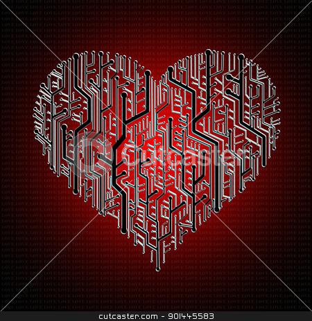 Circuit board in Heart shape stock photo, Circuit board in Heart shape, Heart healthy concept by pixbox77