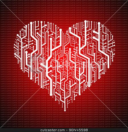 Circuit board in Heart shape, Technology background  stock photo, Circuit board in Heart shape, Technology background  by pixbox77