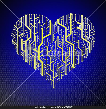 Circuit board in Heart shape stock photo, Circuit board in Heart shape, Technology background  by pixbox77