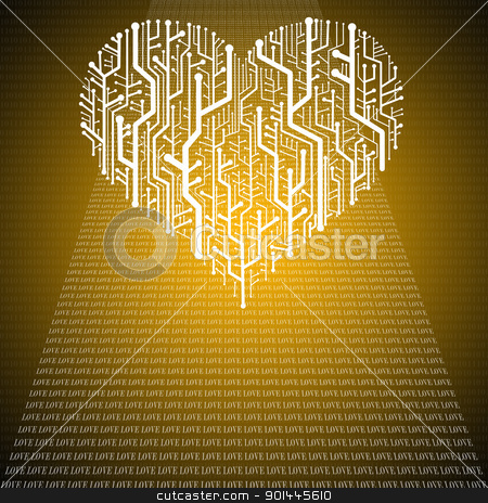 Circuit board in Heart shape, Technology background  stock photo, Circuit board in Heart shape, Technology background  by pixbox77