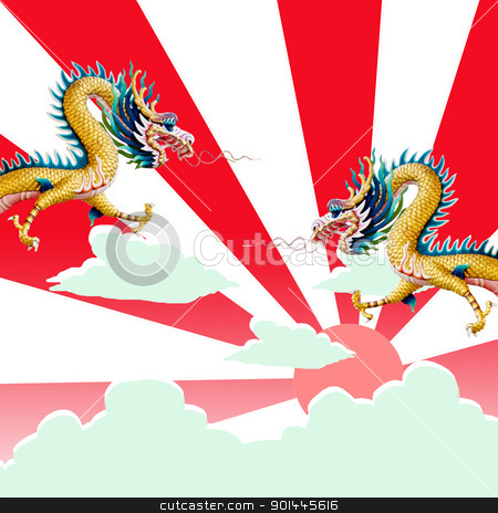 Dragon flying with sunset stock photo, Dragon flying with sunset, Dragon's year concept by pixbox77