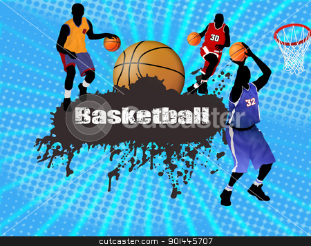 basketball poster stock vector clipart, Grunge basketball poster with players and ball, vector illustration by radubalint