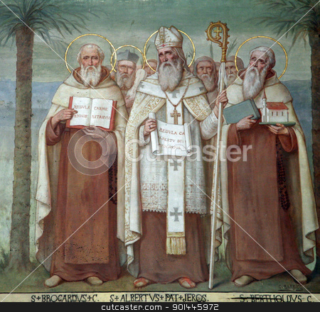 Carmelite Saints stock photo, Saint Brocardus, Albert of Jerusalem and Berthold, Carmelite Saints, The Church Stella Maris, Haifa, Israel by Zvonimir Atletic