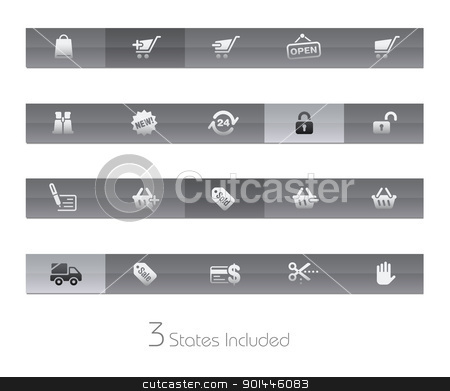 Shopping // Gelbar Series stock vector clipart, +++ The vector file includes 3 buttons states in different layers. +++  by Diego Alies